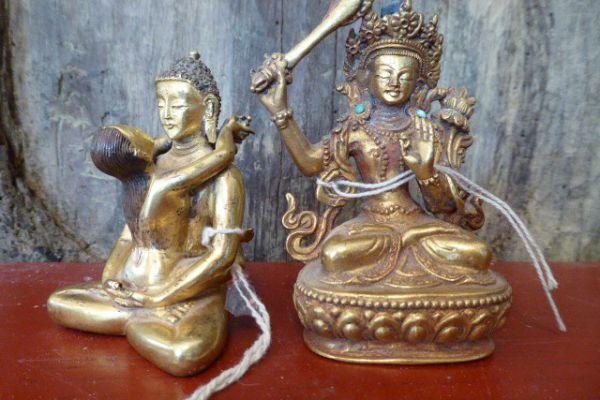 Manjushri - Shakjabronze vergoldet aus Nepal