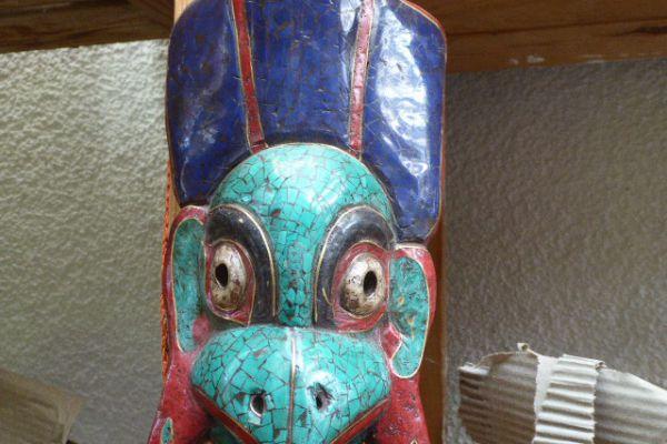 Maske - Messingeinlegearbeit aus Nepal